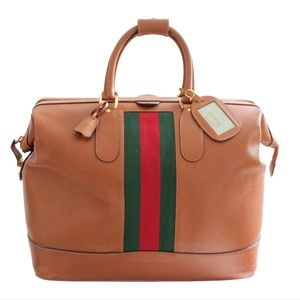 Gucci Saddle Leather Duffel Bag Travel Tote 50cm